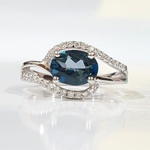 Genuine London Blue Topaz & Sterling Ring